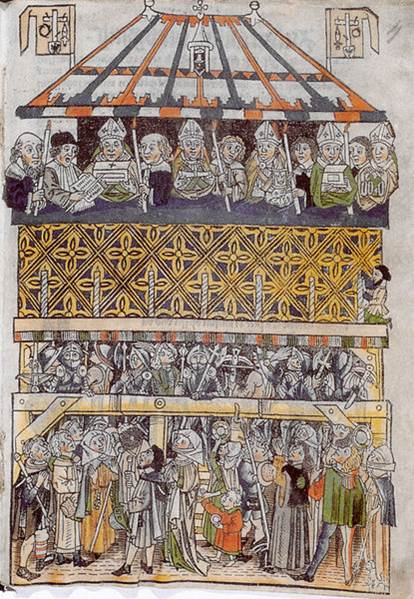Figure 18: Heiltumsstuhl (The Display Tower of the Holy Relics), hand-colored woodcut, published by Peter Vischer, 1487