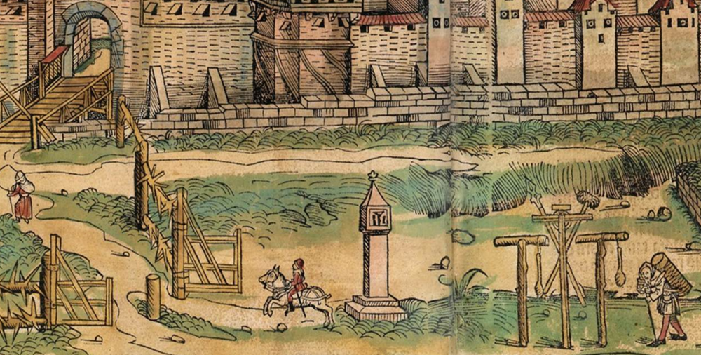 Figure 13: Detail of Three Foreground Figures, Nuremberg cityscape from the  Nuremberg Chronicle , hand-colored woodcut, 1493, folios 99 verso and 100 recto