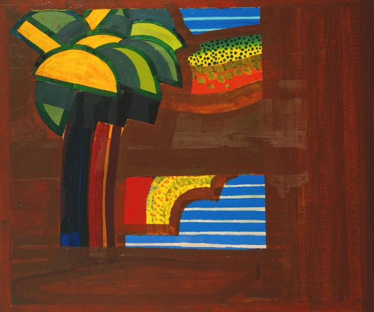 Howard Hodgkin, b. 1932, In a Hotel Garden, oil on wood, 1974
