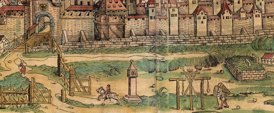 Figure 20: Detail of Foreground (path from inside the city to execution at ravens' stone), Nuremberg cityscape from the Nuremberg Chronicle, hand-colored woodcut, 1493, folios 99 verso - 100 recto