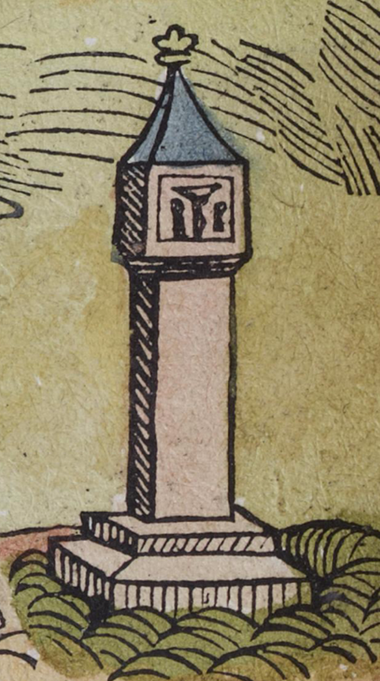 "Figure 19a: Detail of ""Confessional Cross,"" Nuremberg cityscape from the Nuremberg Chronicle, hand-colored woodcut, 1493, folio 99 verso"
