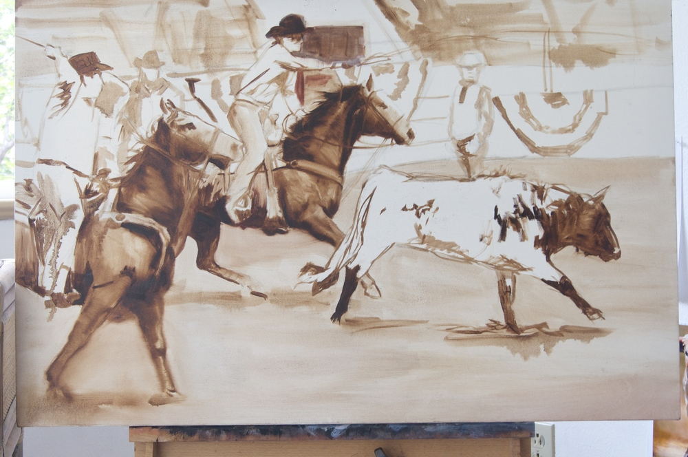 First stage is the underpainting - usually done in burnt umber tones.
