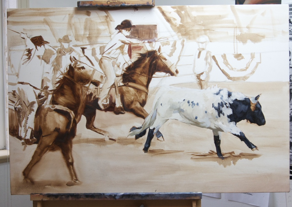 I started with the steer however I often work in an all-over manner when starting a painting and don't focus on one element.