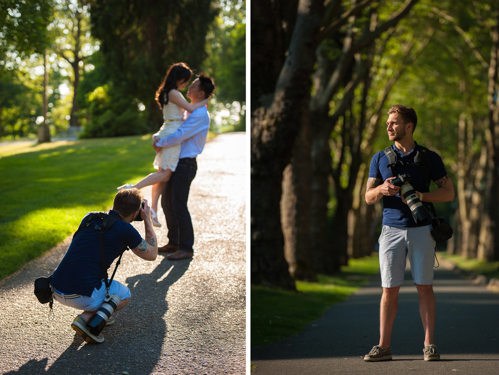 Ron Delhaye photographs an engagement session at University of Washington Seattle
