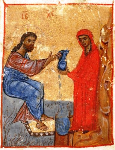 Image: Jesus and the Samaritan woman. A miniature from the 12th-century Jruchi Gospels II MSS from Georgia.