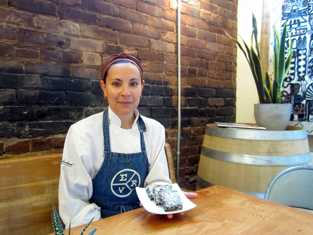 Vancouver  chef Merri Schwartz  at East Van Roasters. (Published by the  Georgia Straight , August 20, 2014).
