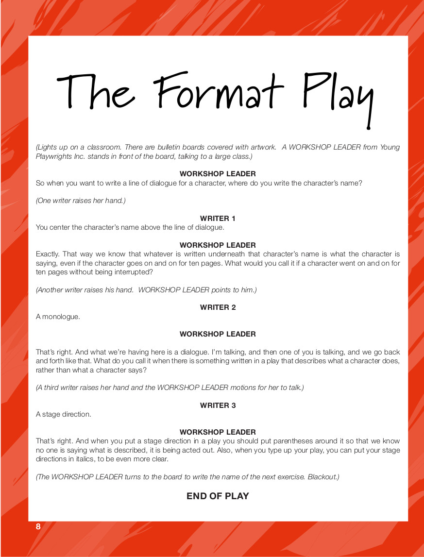 Click here to download a copy of THE FORMAT PLAY.