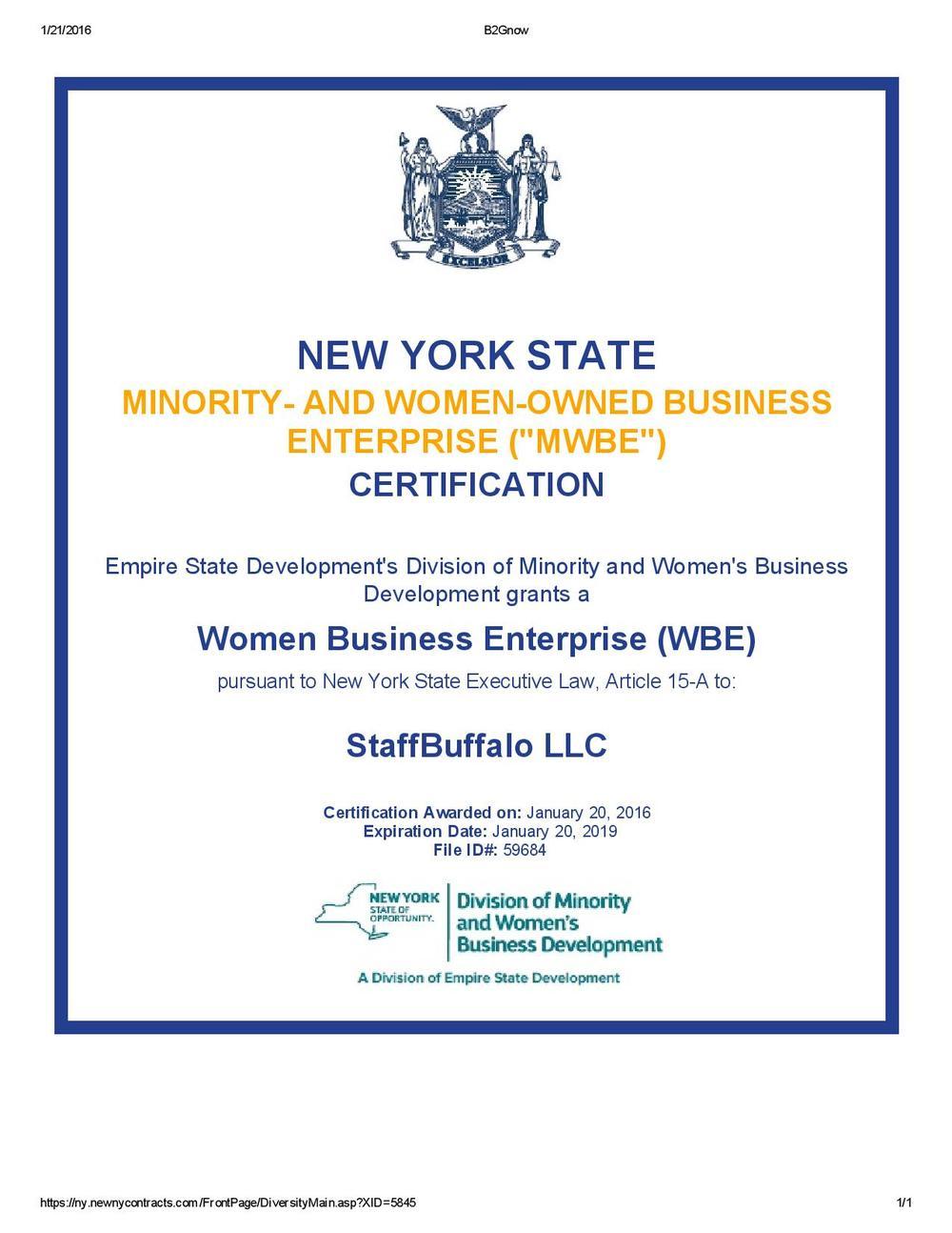 Wbe Certification Staffbuffalo Where Buffalo Works
