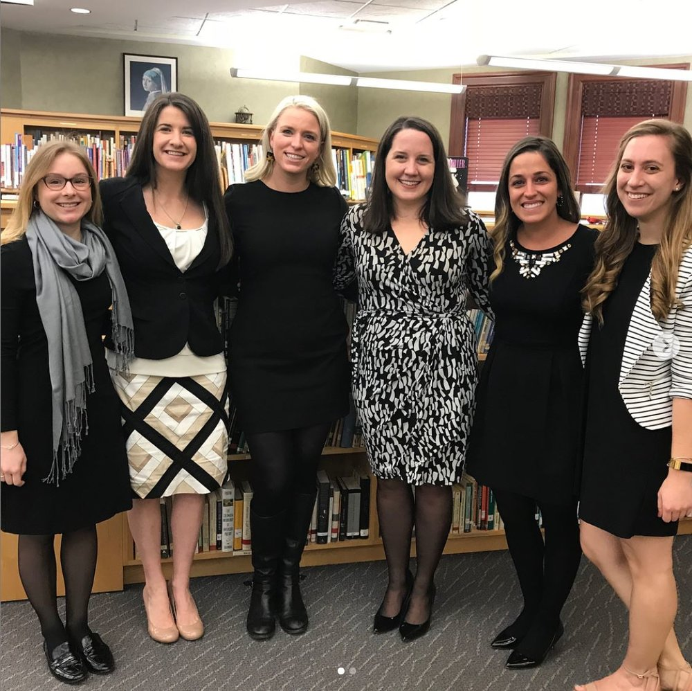 Day 1 of Nardin's Classroom to Career WinterMission Session! Featuring Maggie Shea ('03, second from left), Lauren Lewis ('02, third from left), and Caitlin Logue Rush ('01, third from right). Photo courtesy of Nardin Academy.