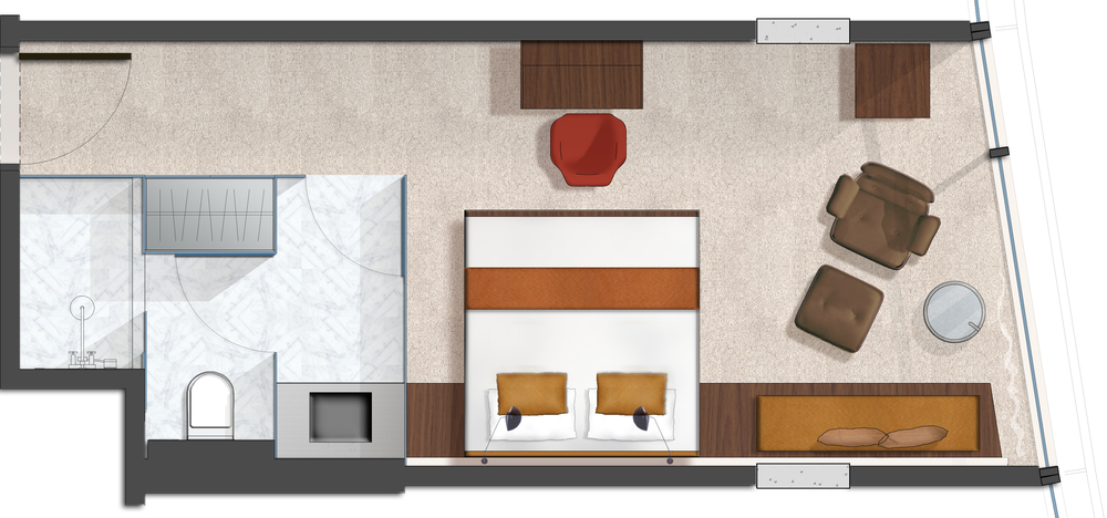 Bond NoHo Hotel, Room Layout