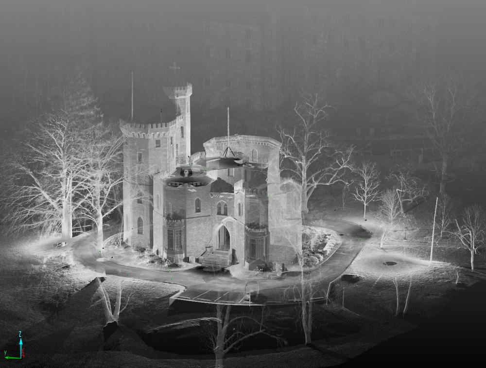 This image shows the castle with about half the scans pieced together.