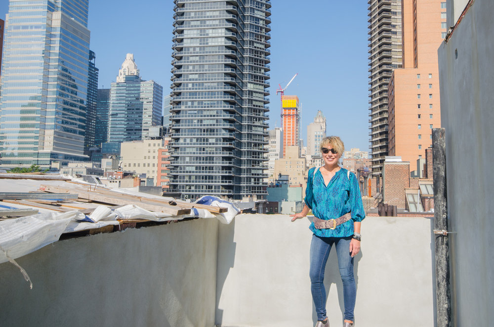 Caterina on the rooftop where the emergency generator will be located.  TRA Studio architecture, Townhouse, Upper East Side, New York, NY, Design, Modern, 251 East 61st Street, Construction, Renovation, Adaptive Reuse