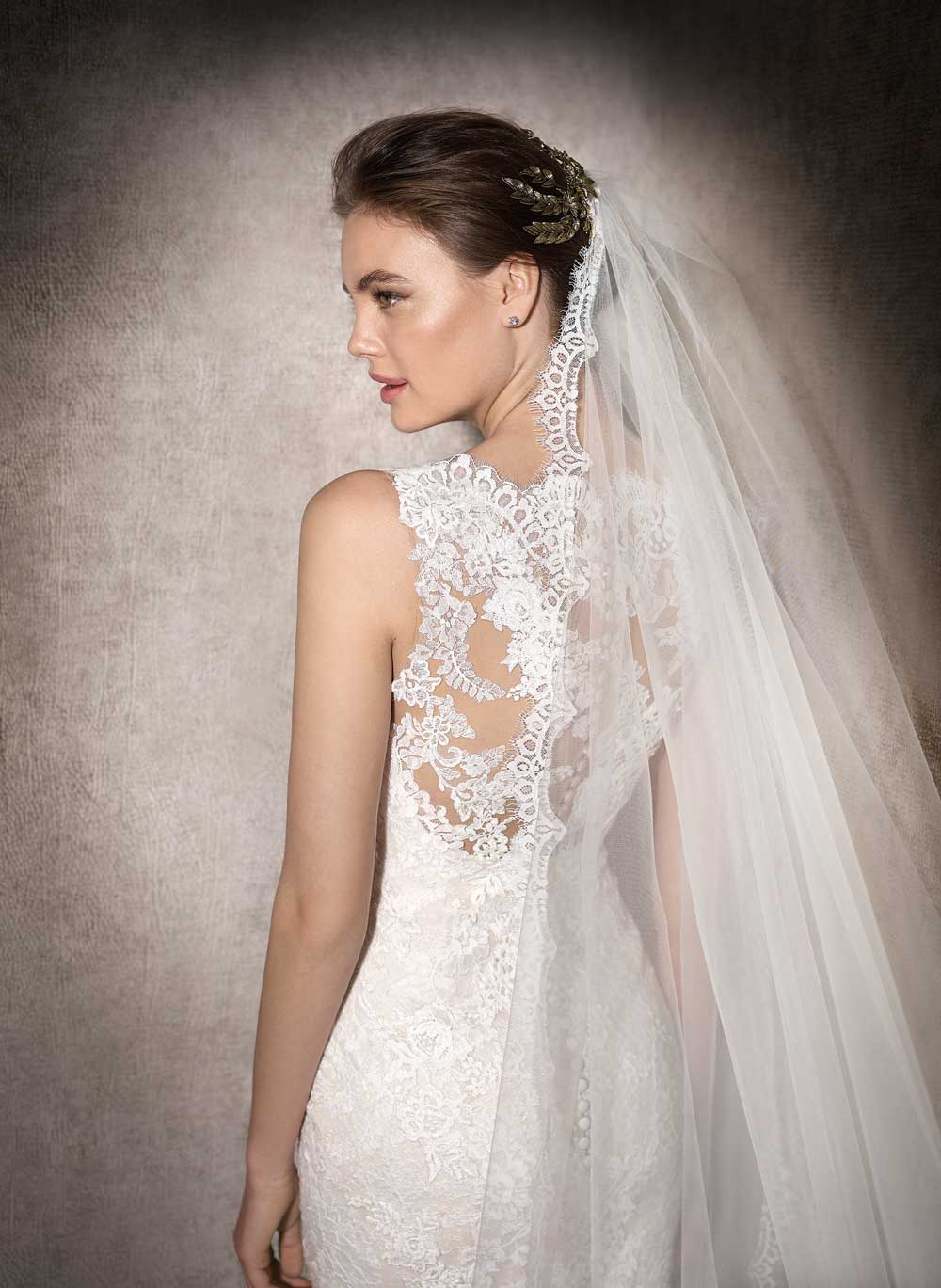 High lace back wedding dress