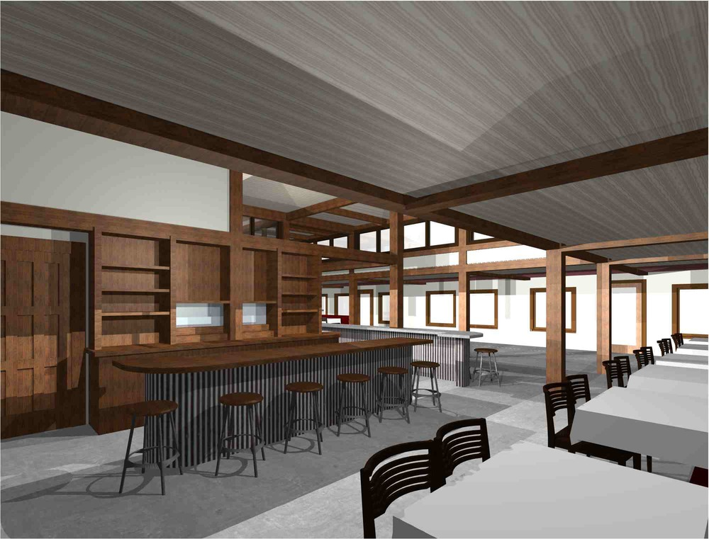Interior rendering of a remodeled restaurant in Pismo Beach, CA.  Rendering by Jim Dummit.
