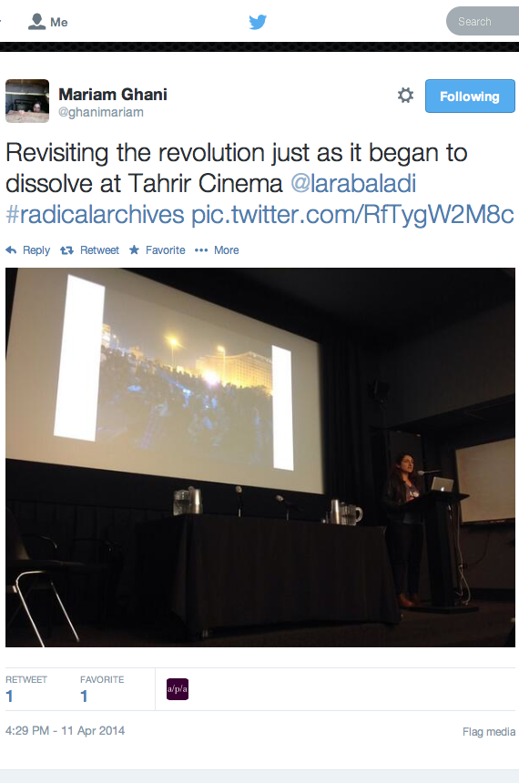 Tweet, Mariam Ghani,   Radical Archives   conference, New York University, NY, 2014.