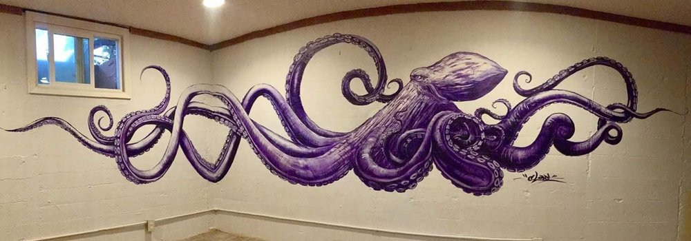 Octopus Glam  2017  Acrylic 15' x 4'