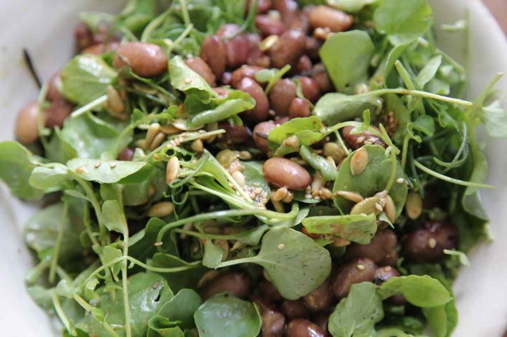 Summer fresch beans, seeds & leaves.