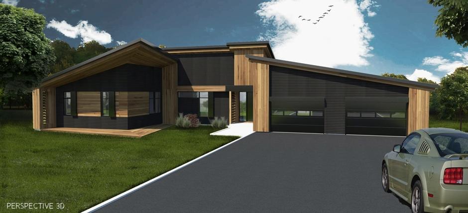 Maison avec lucarne cool maison toit en tuiles noires et for Maison garage double