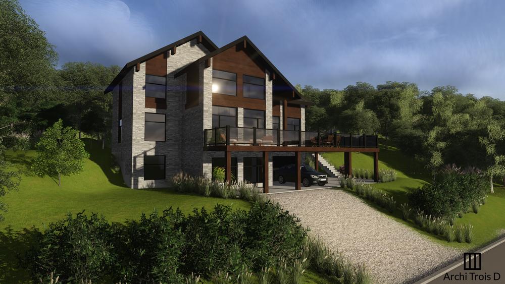 maison 2 tages avec mezzanine de style moderne rustique adapt un terrain en pente - Facade Maison Style Moderne