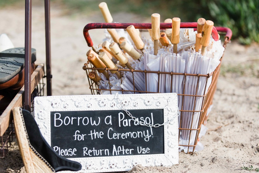 Parasols and Chalk Board Sign