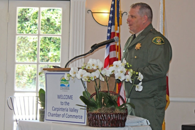 Lt. Michael Perkins of the Santa Barbara County Sheriff's Department was among local officials who spoke Friday at the Carpinteria Valley Chamber of Commerce's 2016 State of the Community luncheon. (Sam Goldman / Noozhawk photo)