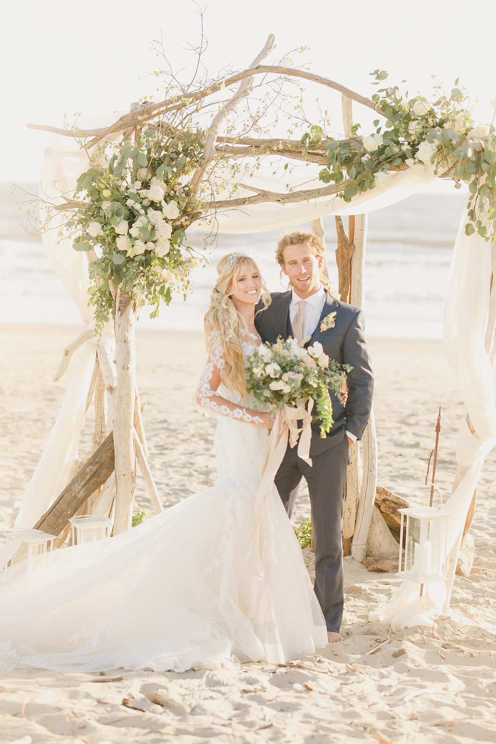 Holly & Quinn beach wedding ceremony