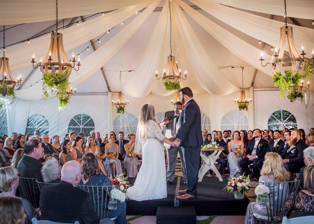 Santa Barbara wedding ceremony in tent