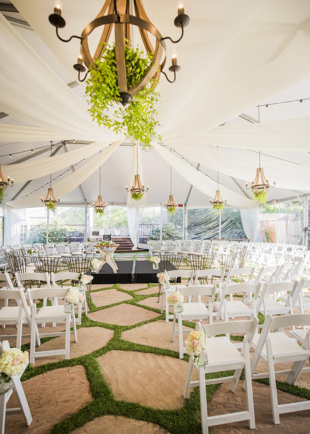 Santa Barbara wedding venue - garden ceremony in tent