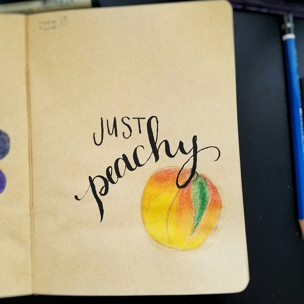 Day 12: Just Peachy (lettering)