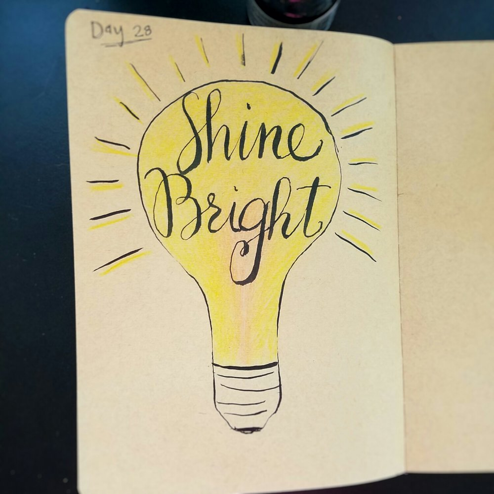 Day 28: Shine Bright (lettering)