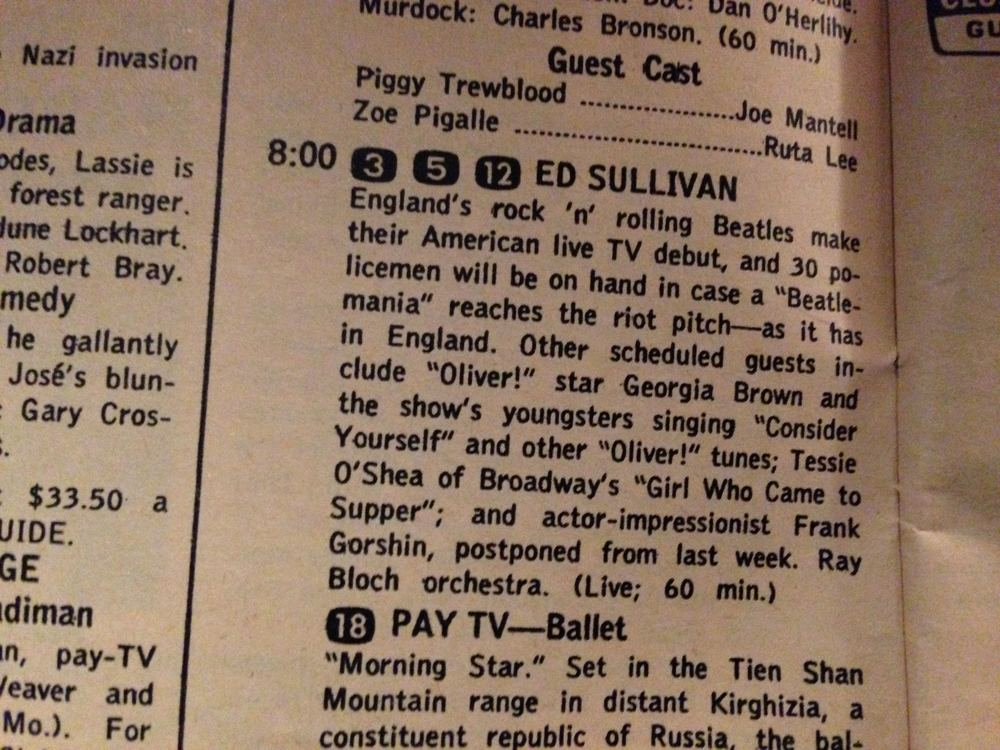 1964 Ed Sullivan Appearance from TV Guide