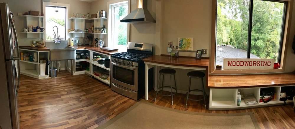 Walnut Countertops, Custom Cabinets