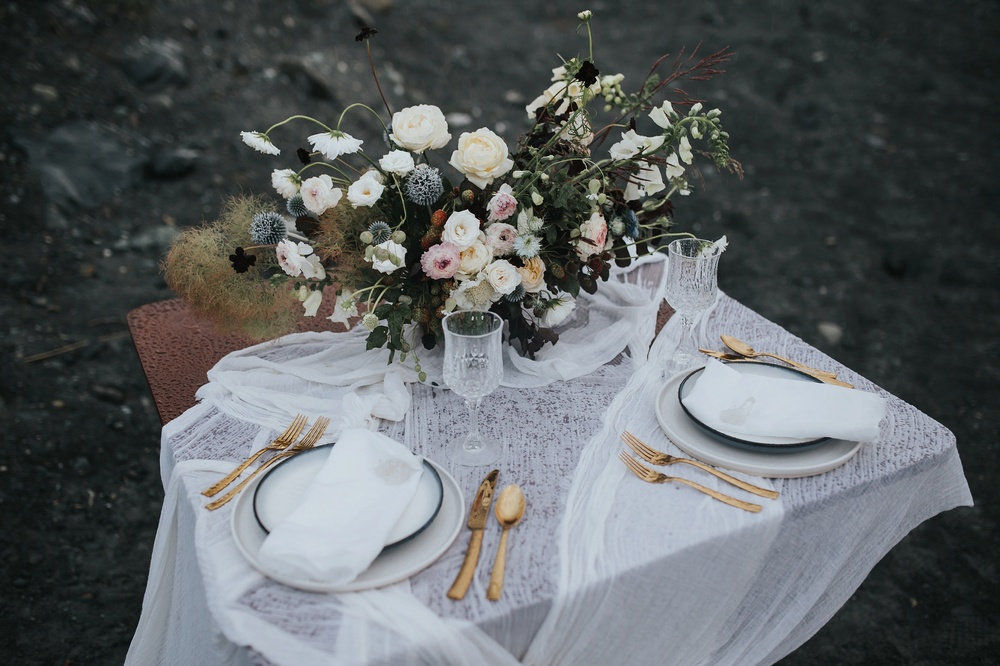 glacier wedding tablescape