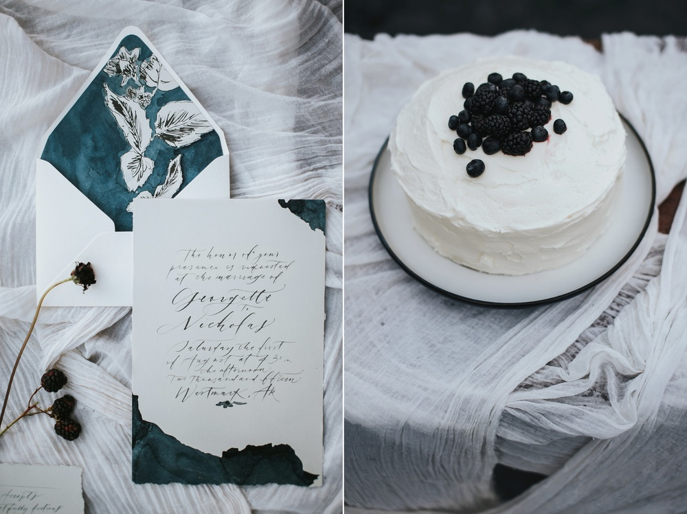 simple blackberry wedding cake