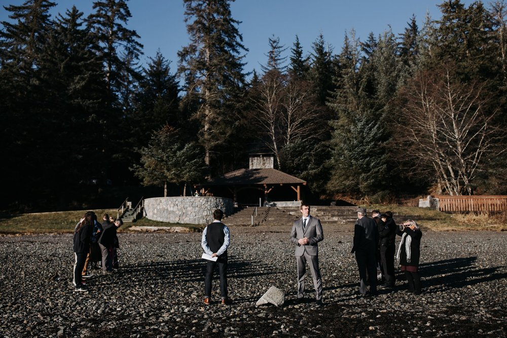 wedding at Auke beach in Juneau Alaska