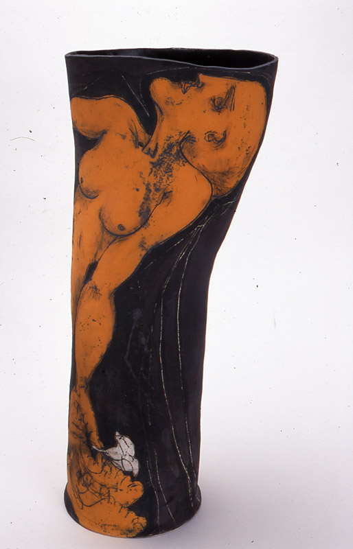 Narcissus,  2002, mid-fired ceramic with underglazes, 75cm