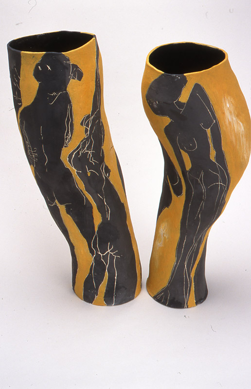 Persephone and Hades,  2002, mid-fired ceramic with underglazes, 80cm