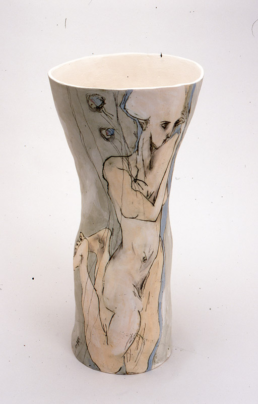The Abduction,  2002, mid-fired ceramic with underglazes, 75cm
