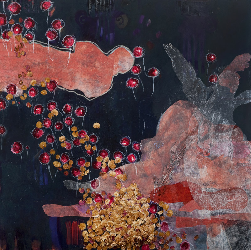 Bed of Roses,  2010,   acrylic, pencil and collage on stretched linen on board, 120x120cm