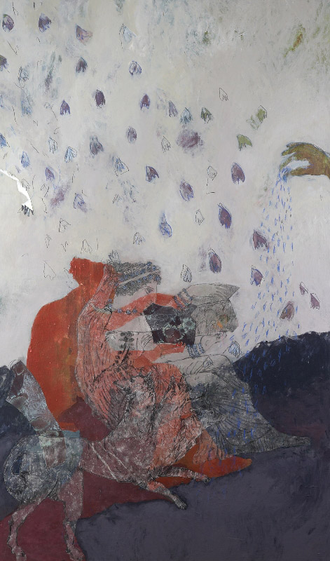 Psyche's Task no.4 - Collecting the Elixer of Life  2010, acrylic, pencil and collage on stretched linen on board, 150x50cm