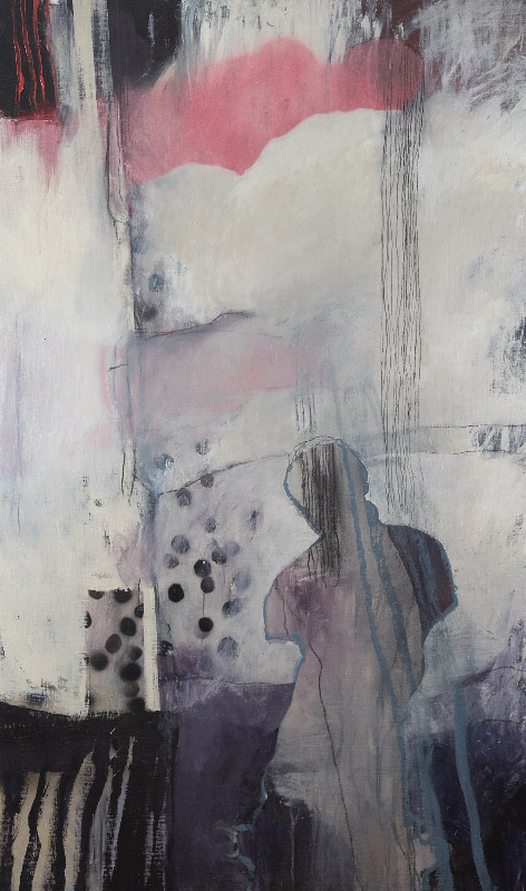 The Tower,  2010, acrylic, oil stick and pencil on stretched linen on board, 150x50cm