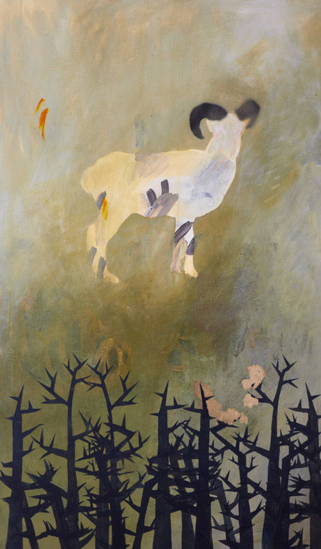 Collecting the Golden Fleece,  2010 ,  acrylic and gold leaf on stretched linen on board, 150x50cm