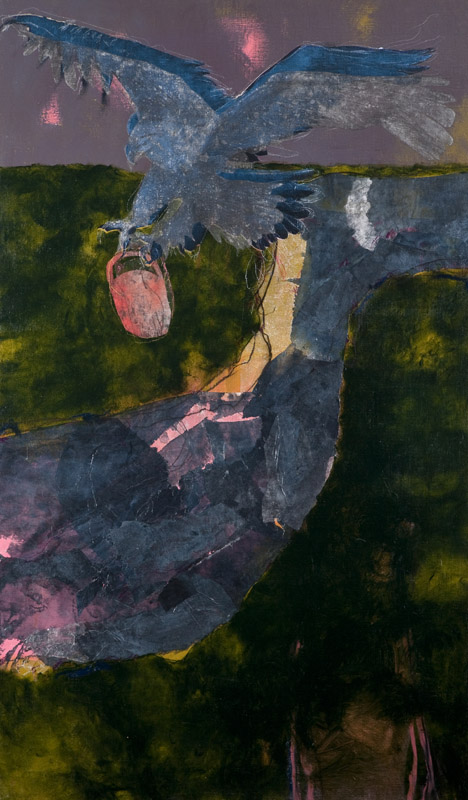 Zeus' Eagle,  2012, acrylic and collage on linen stretched onto board, 150x50cm