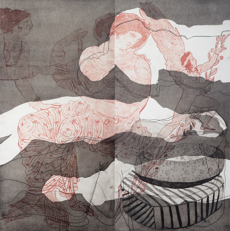Bed of Roses,  2010, etching,100x100cm