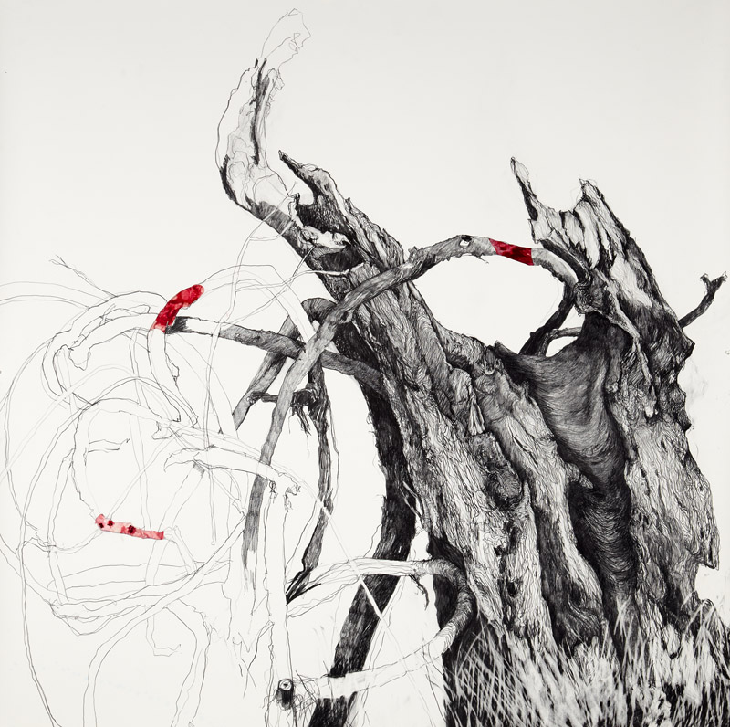 'Between Darkness and Light ', 2012, graphite and collage on Arches paper, 150x150cm