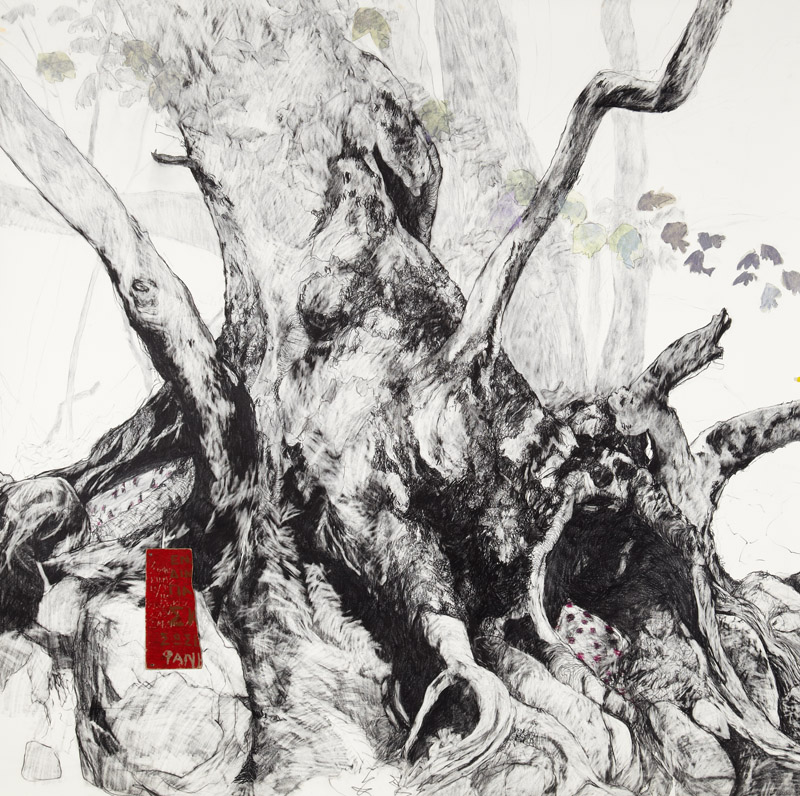 'Pan',  2012, Graphite and collage on Arches paper, 150x150cm