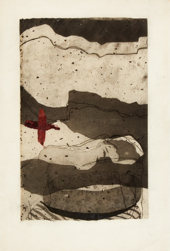 Beyond Heaven and Earth,  2014, etching collage and encaustic on paper, 98x66cm