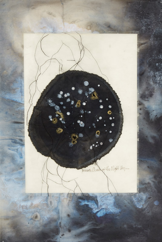 Queen of the Night Sky , 2014, etching, drawing, ink, acrylic and encaustic on paper, 98x66cm