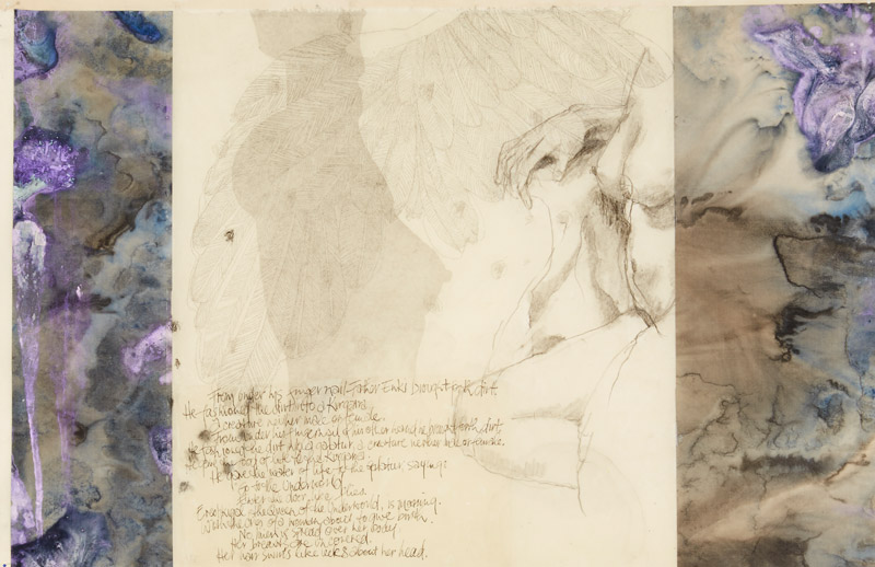 Ether,  2014,   etching, collage and encaustic on paper, 52x81cm