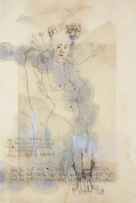 From the great Above , 2014, etching, drawing, ink and encaustic on paper, 98x66cm